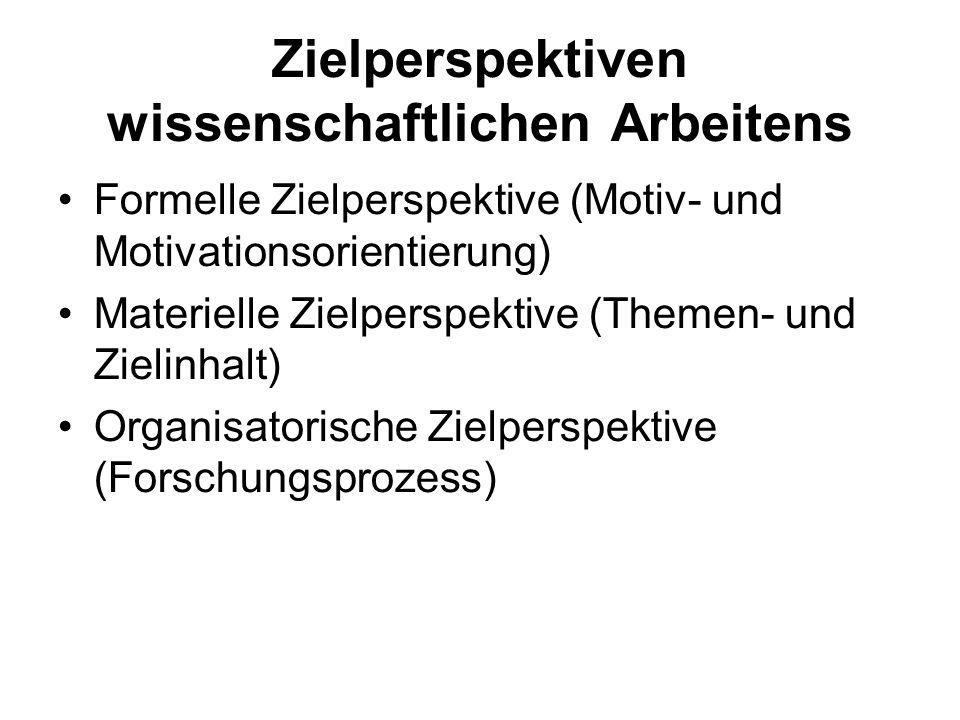 Zielperspektiven wissenschaftlichen Arbeitens Formelle Zielperspektive (Motiv- und Motivationsorientierung) Materielle Zielperspektive (Themen- und Zi