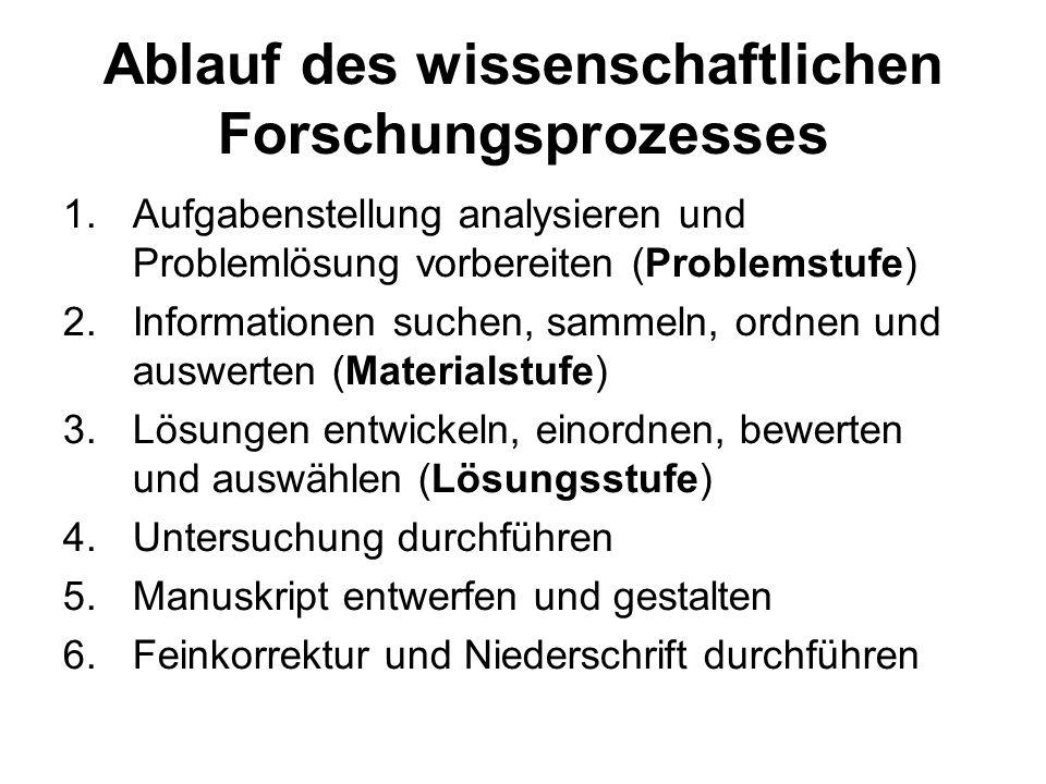 Ablauf des wissenschaftlichen Forschungsprozesses 1.Aufgabenstellung analysieren und Problemlösung vorbereiten (Problemstufe) 2.Informationen suchen,