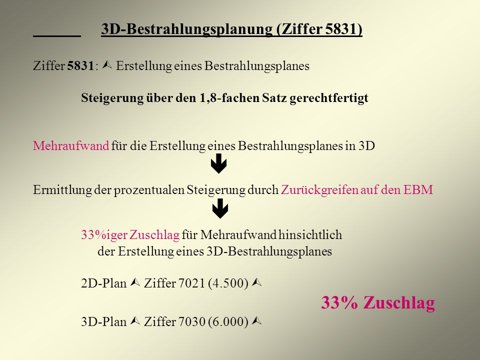 3D-Bestrahlungsplanung (Ziffer 5831) Ziffer 5831: Erstellung eines Bestrahlungsplanes Steigerung über den 1,8-fachen Satz gerechtfertigt Mehraufwand f