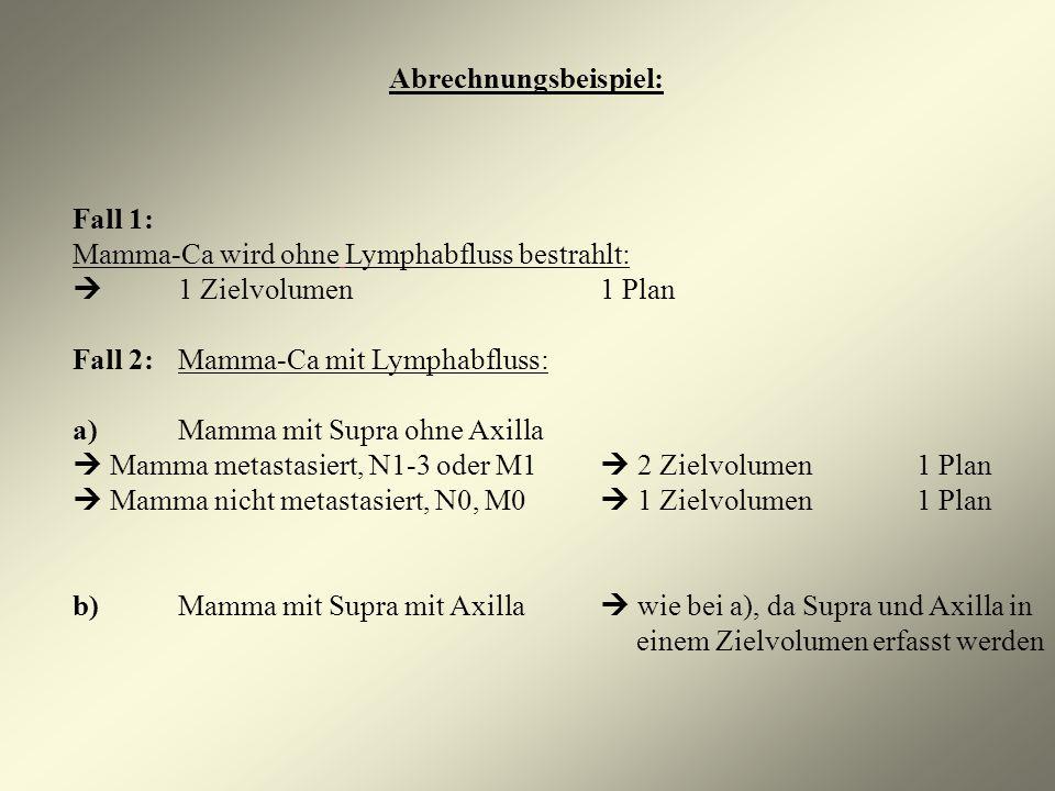 Abrechnungsbeispiel: Fall 1: Mamma-Ca wird ohne Lymphabfluss bestrahlt: 1 Zielvolumen1 Plan Fall 2:Mamma-Ca mit Lymphabfluss: a)Mamma mit Supra ohne A