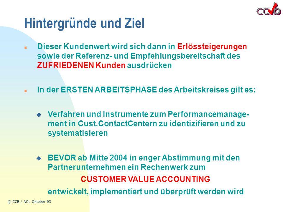 © CCB / AOL Oktober 03 Hintergründe und Ziel n Dieser Kundenwert wird sich dann in Erlössteigerungen sowie der Referenz- und Empfehlungsbereitschaft des ZUFRIEDENEN Kunden ausdrücken n In der ERSTEN ARBEITSPHASE des Arbeitskreises gilt es: u Verfahren und Instrumente zum Performancemanage- ment in Cust.ContactCentern zu identizifieren und zu systematisieren u BEVOR ab Mitte 2004 in enger Abstimmung mit den Partnerunternehmen ein Rechenwerk zum CUSTOMER VALUE ACCOUNTING entwickelt, implementiert und überprüft werden wird