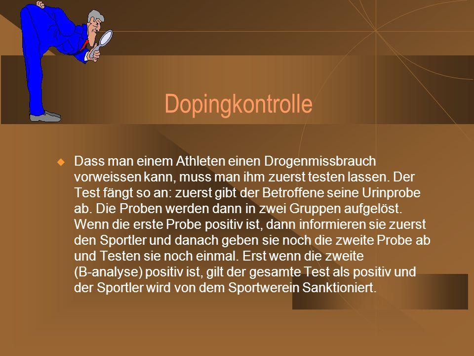 Die Prävention von Doping Am 15.7.2002 war die Nationale-Anti-Doping Agentur in Bonn gegründet.