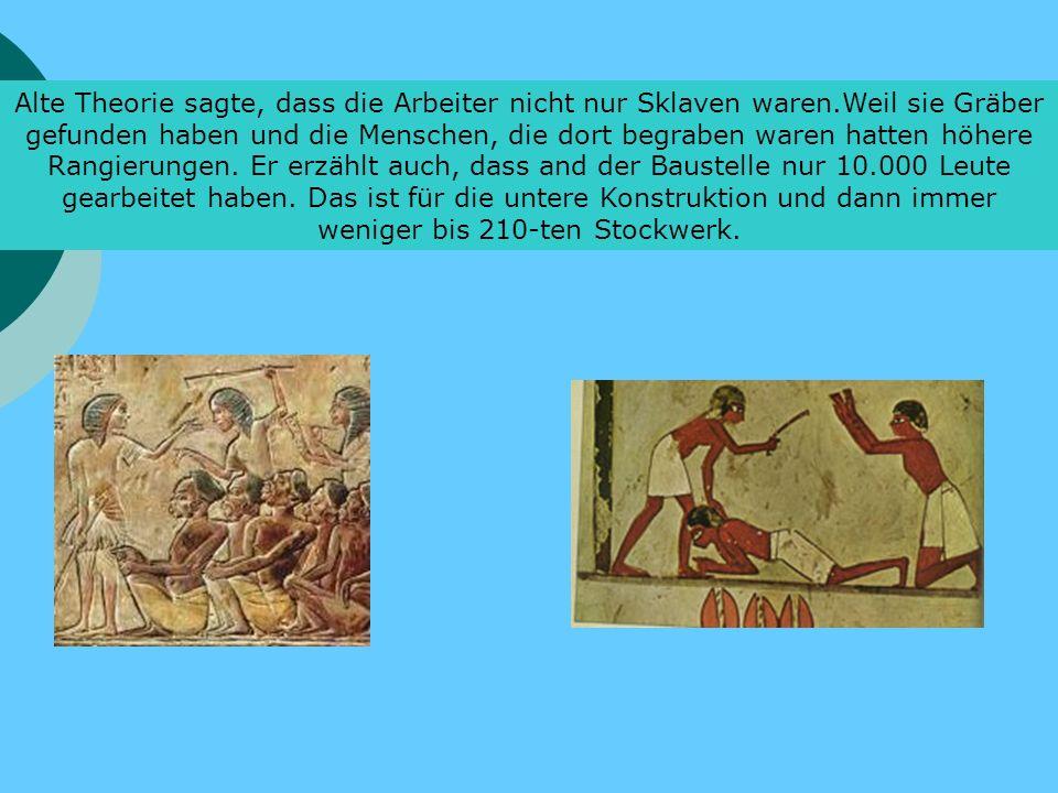 Alte Theorie sagte, dass die Arbeiter nicht nur Sklaven waren.Weil sie Gräber gefunden haben und die Menschen, die dort begraben waren hatten höhere Rangierungen.