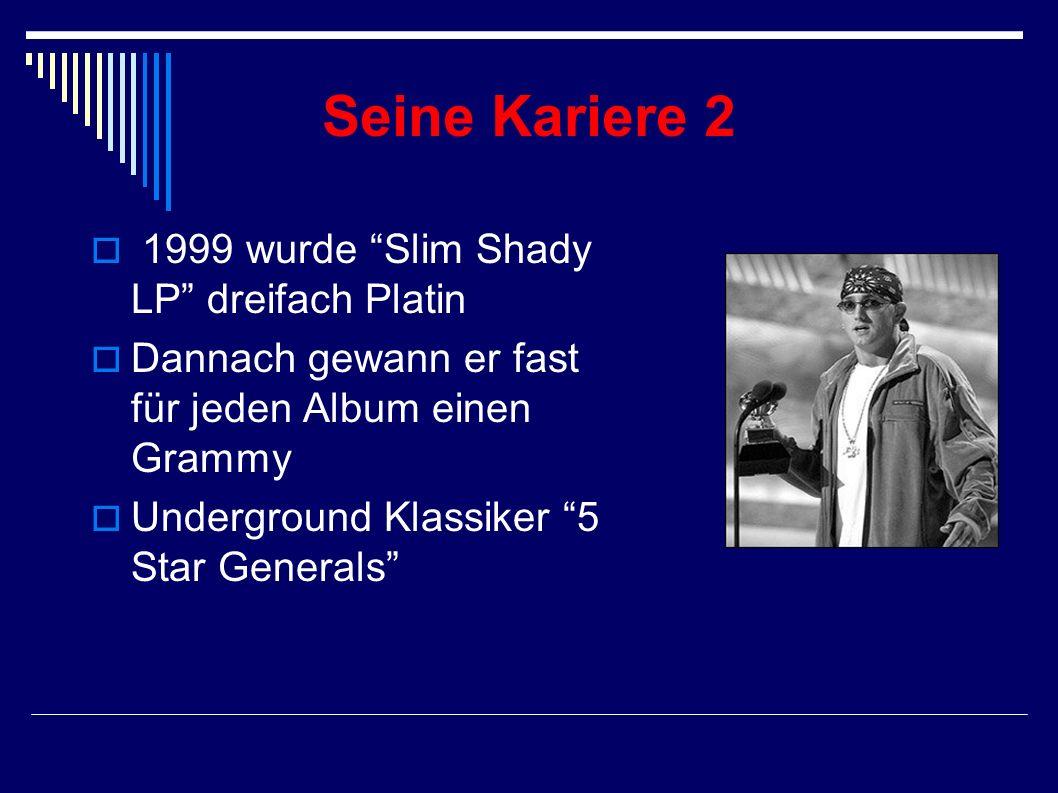 Seine Kariere Debutalbum Infinite in 1996 1997 gewann er 2. Platz an der Rap Olympiade 1998 wurde Slim Shady EP veröffentlicht Dr.Dre gefiel was Em ma