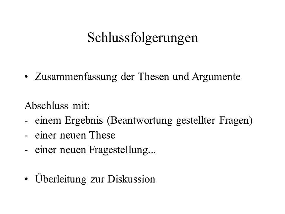 Schlussfolgerungen Zusammenfassung der Thesen und Argumente Abschluss mit: -einem Ergebnis (Beantwortung gestellter Fragen) -einer neuen These -einer