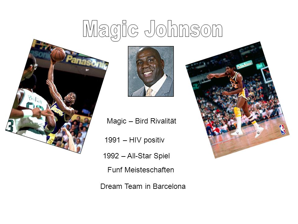 Magic – Bird Rivalität 1991 – HIV positiv 1992 – All-Star Spiel Funf Meisteschaften Dream Team in Barcelona