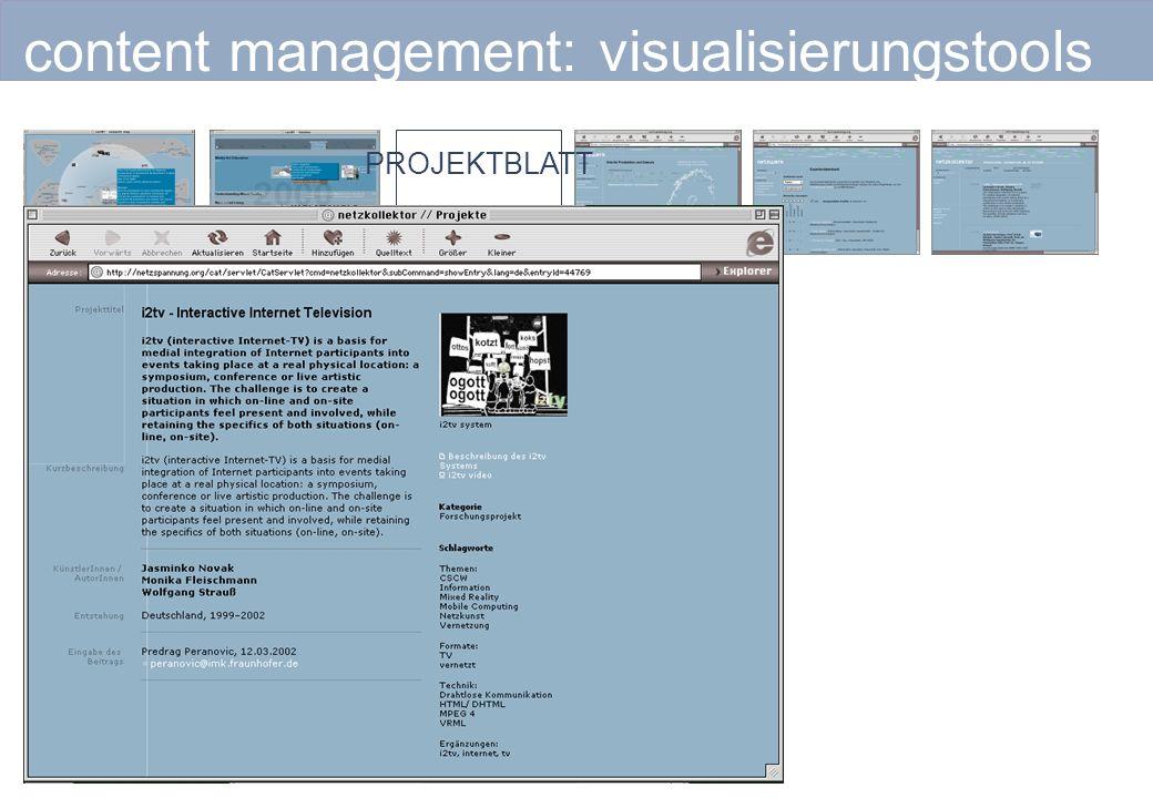 content management: visualisierungstools PROJEKTBLATT