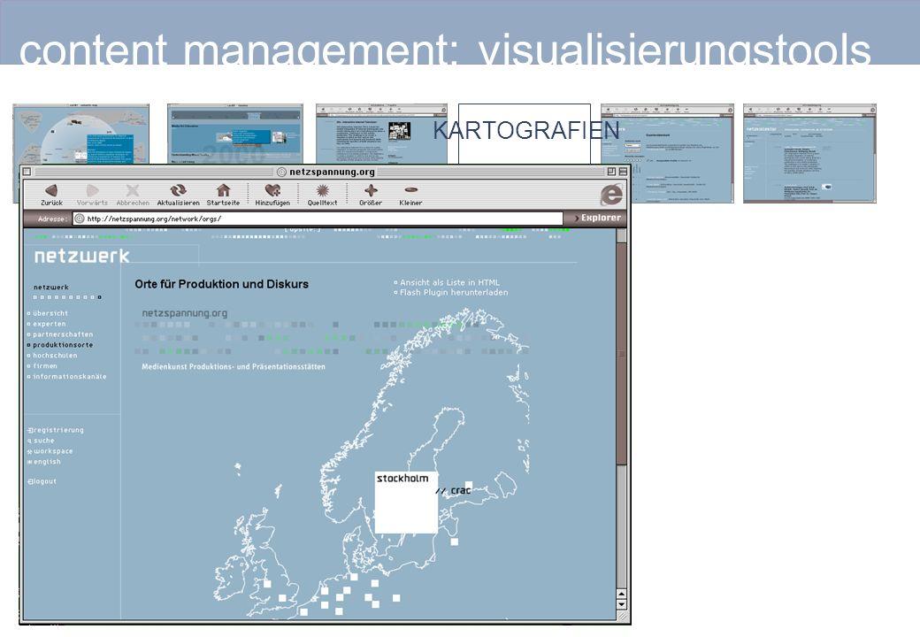 content management: visualisierungstools KARTOGRAFIEN