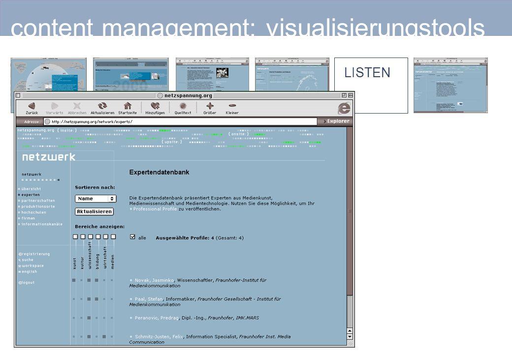 content management: visualisierungstools LISTEN