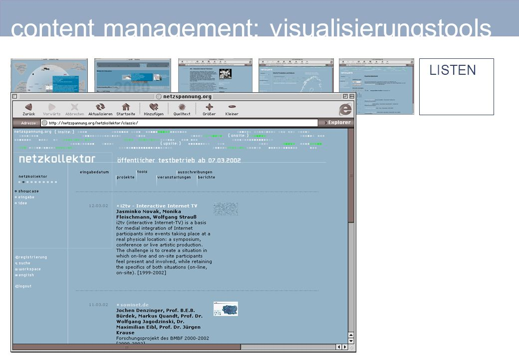 content management: visualisierungstools LISTEN