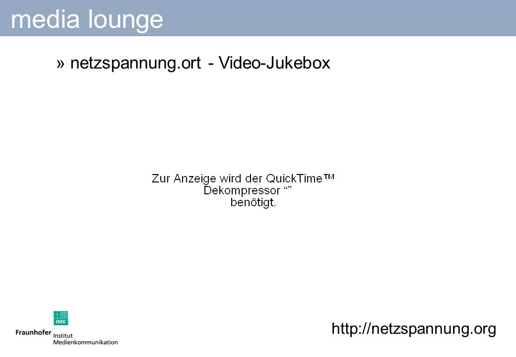 http://netzspannung.org » netzspannung.ort - Video-Jukebox media lounge