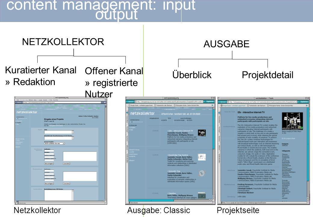 content management: visualisierungstools SEMANTIC MAP LISTENKARTOGRAFIEN PROJEKTBLATT TIMELINE