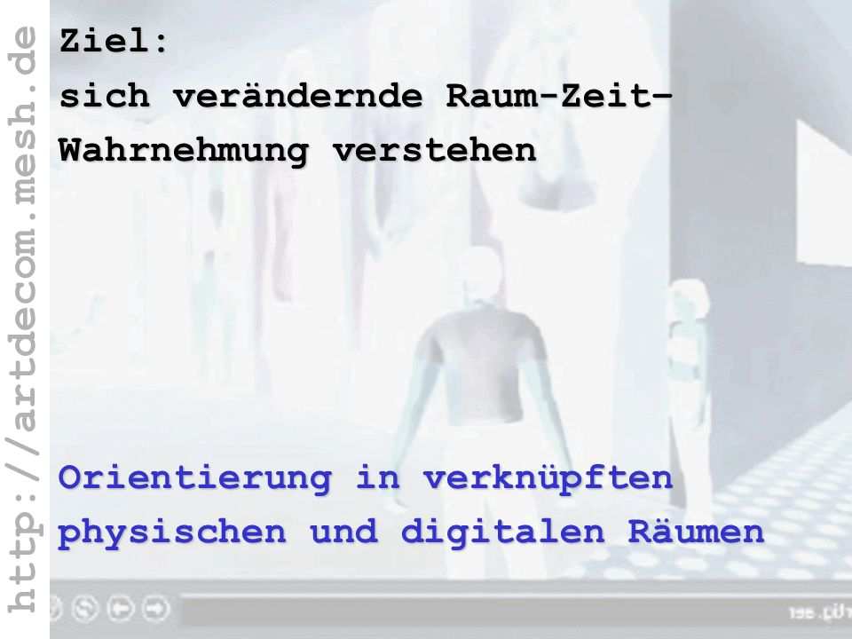 http://artdecom.mesh.de Ziel: Verstehen R+ZeitZiel: sich verändernde Raum-Zeit– Wahrnehmung verstehen Orientierung in verknüpften physischen und digit