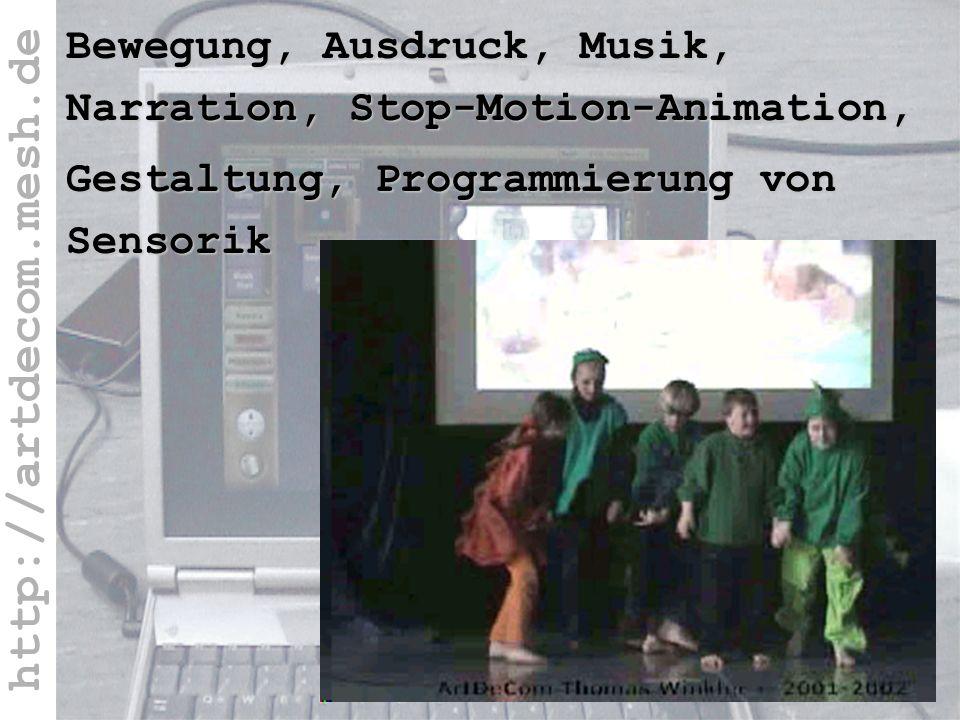 http://artdecom.mesh.de Bewegung,...Film Aufführung Bewegung, Ausdruck, Musik, Narration, Stop-Motion-Animation, Gestaltung, Programmierung von Sensor