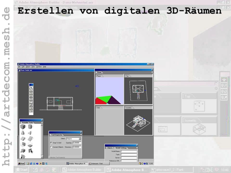 http://artdecom.mesh.de 3D-Räume / Atmosphere Erstellen von digitalen 3D-Räumen