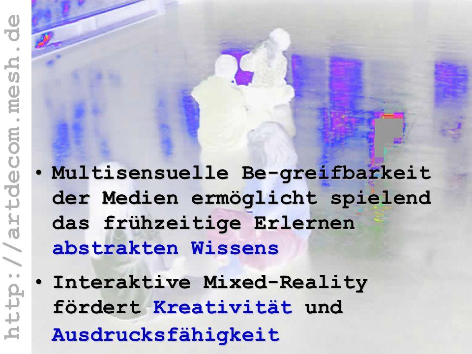 http://artdecom.mesh.de Wiss.E: abstr.Wissen + Kreativität, Ausdr.Fähigk. Interaktive Mixed-Reality fördert Kreativität und AusdrucksfähigkeitInterakt