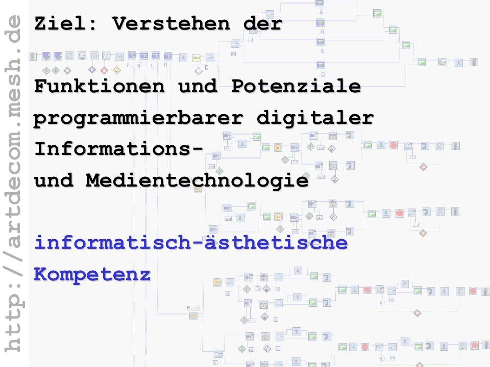 http://artdecom.mesh.de Ziel: Inform.Kompetenz Ziel: Verstehen der Funktionen und Potenziale programmierbarer digitaler Informations- und Medientechno