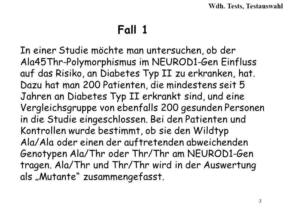 24 Kreuztabelle Diabetes II Janein Σ Genotyp Wildtyp145147292 Mutante5553108 Σ 200 400 6.Welcher Signifikanztest ist anzuwenden.