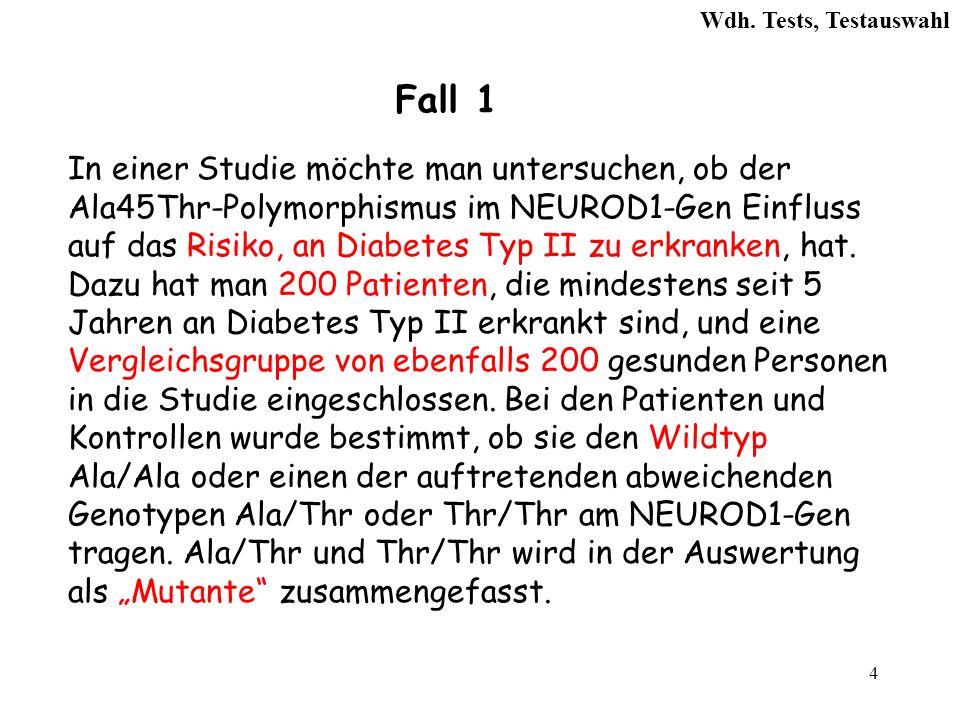 25 Kreuztabelle Diabetes II Janein Σ Genotyp Wildtyp145147292 Mutante5553108 Σ 200 400 6.Welcher Signifikanztest ist anzuwenden.
