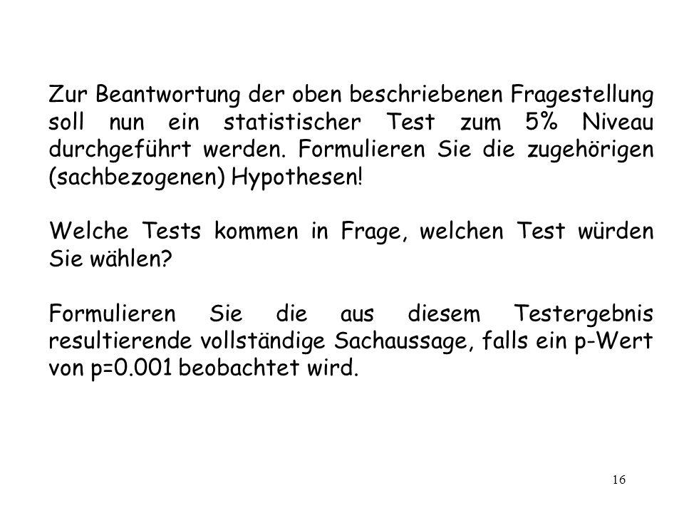 16 Zur Beantwortung der oben beschriebenen Fragestellung soll nun ein statistischer Test zum 5% Niveau durchgeführt werden. Formulieren Sie die zugehö