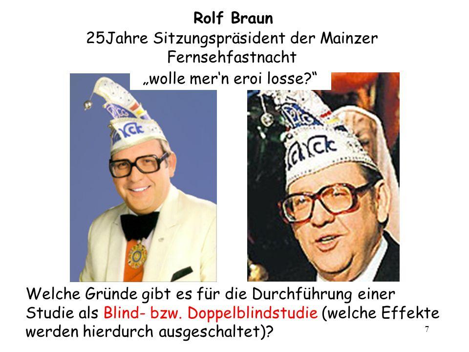 7 Rolf Braun wolle mern eroi losse? 25Jahre Sitzungspräsident der Mainzer Fernsehfastnacht Welche Gründe gibt es für die Durchführung einer Studie als