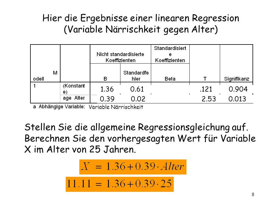 8 Variable Närrischkeit Hier die Ergebnisse einer linearen Regression (Variable Närrischkeit gegen Alter) Stellen Sie die allgemeine Regressionsgleich