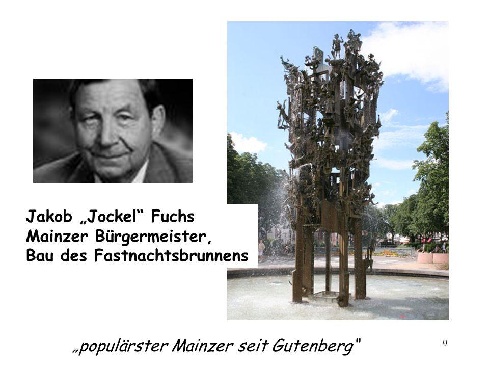 9 populärster Mainzer seit Gutenberg Jakob Jockel Fuchs Mainzer Bürgermeister, Bau des Fastnachtsbrunnens