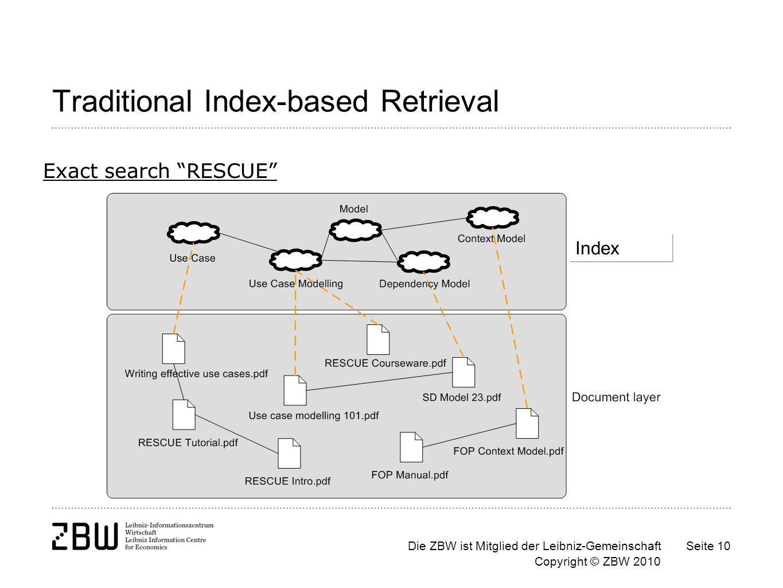 Die ZBW ist Mitglied der Leibniz-Gemeinschaft Copyright © ZBW 2010 Seite 10 Traditional Index-based Retrieval Exact search RESCUE Index