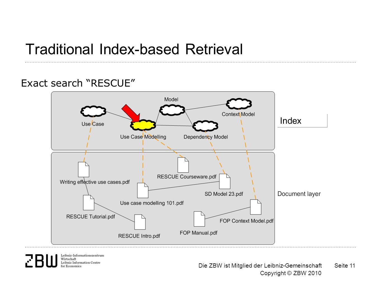 Die ZBW ist Mitglied der Leibniz-Gemeinschaft Copyright © ZBW 2010 Seite 11 Traditional Index-based Retrieval Exact search RESCUE Index