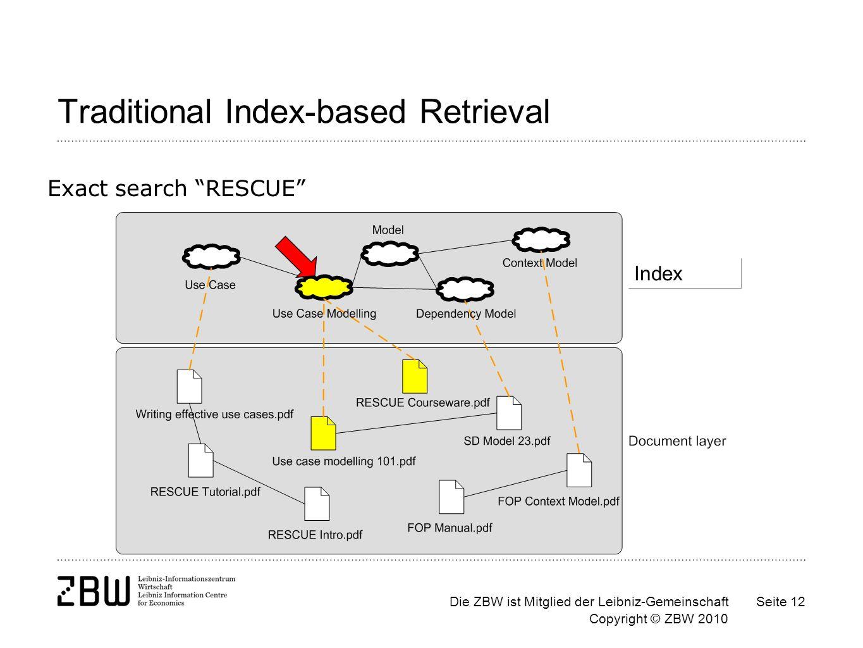 Die ZBW ist Mitglied der Leibniz-Gemeinschaft Copyright © ZBW 2010 Seite 12 Traditional Index-based Retrieval Exact search RESCUE Index