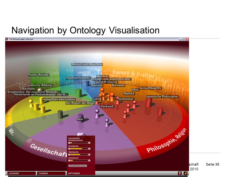 Die ZBW ist Mitglied der Leibniz-Gemeinschaft Copyright © ZBW 2010 Seite 36 Navigation by Ontology Visualisation