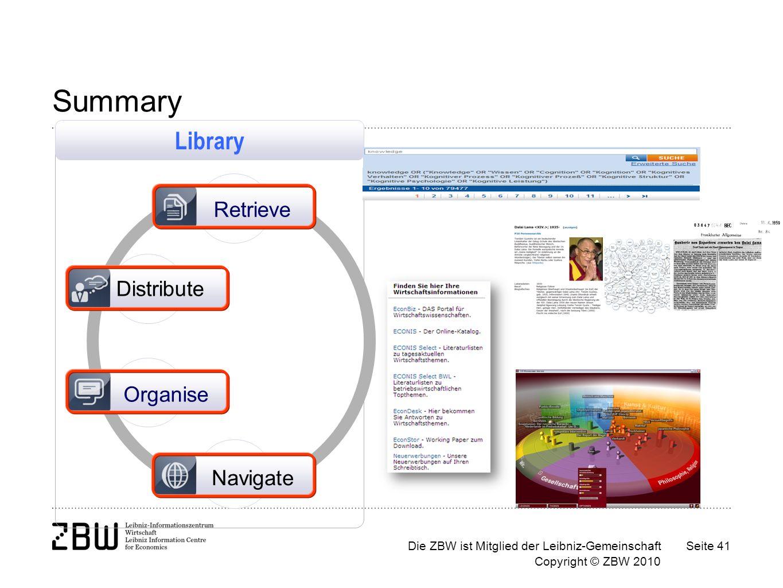 Die ZBW ist Mitglied der Leibniz-Gemeinschaft Copyright © ZBW 2010 Seite 41 Summary Distribute Organise Navigate Retrieve Library