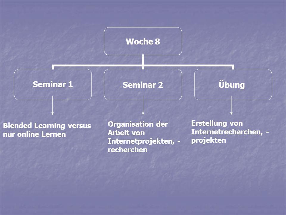 Woche 8 Seminar 1Seminar 2Übung Blended Learning versus nur online Lernen Organisation der Arbeit von Internetprojekten, - recherchen Erstellung von I