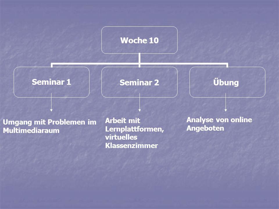 Woche 10 Seminar 1Seminar 2Übung Umgang mit Problemen im Multimediaraum Arbeit mit Lernplattformen, virtuelles Klassenzimmer Analyse von online Angebo