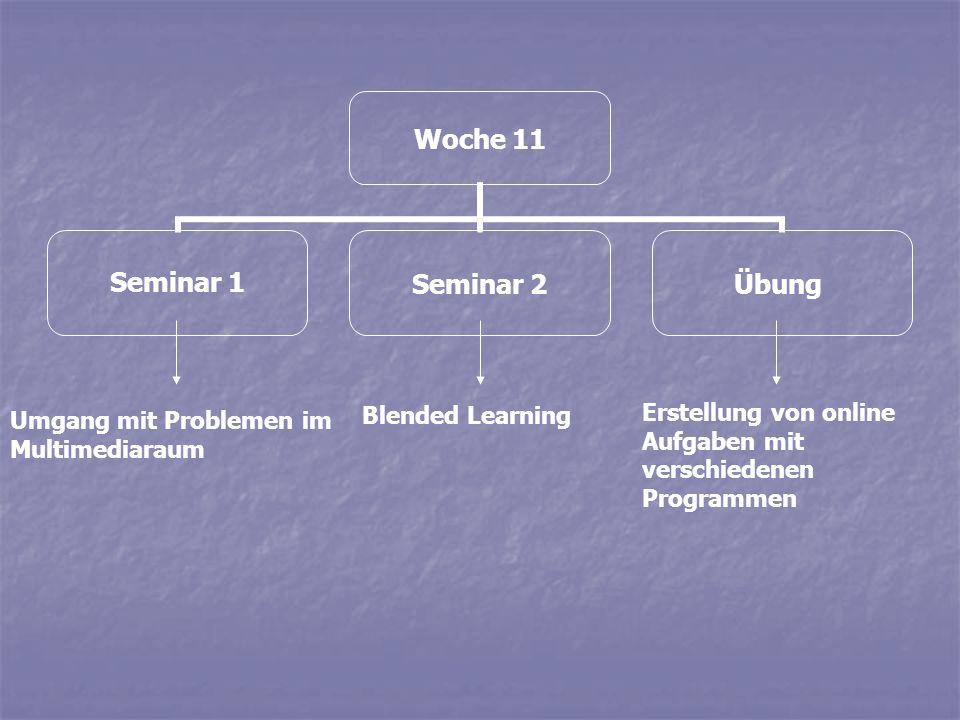 Woche 11 Seminar 1Seminar 2Übung Umgang mit Problemen im Multimediaraum Blended Learning Erstellung von online Aufgaben mit verschiedenen Programmen