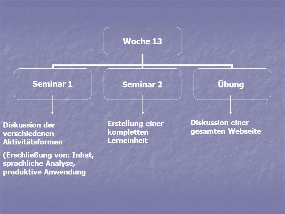 Woche 13 Seminar 1Seminar 2Übung Diskussion der verschiedenen Aktivitätsformen (Erschließung von: Inhat, sprachliche Analyse, produktive Anwendung Ers