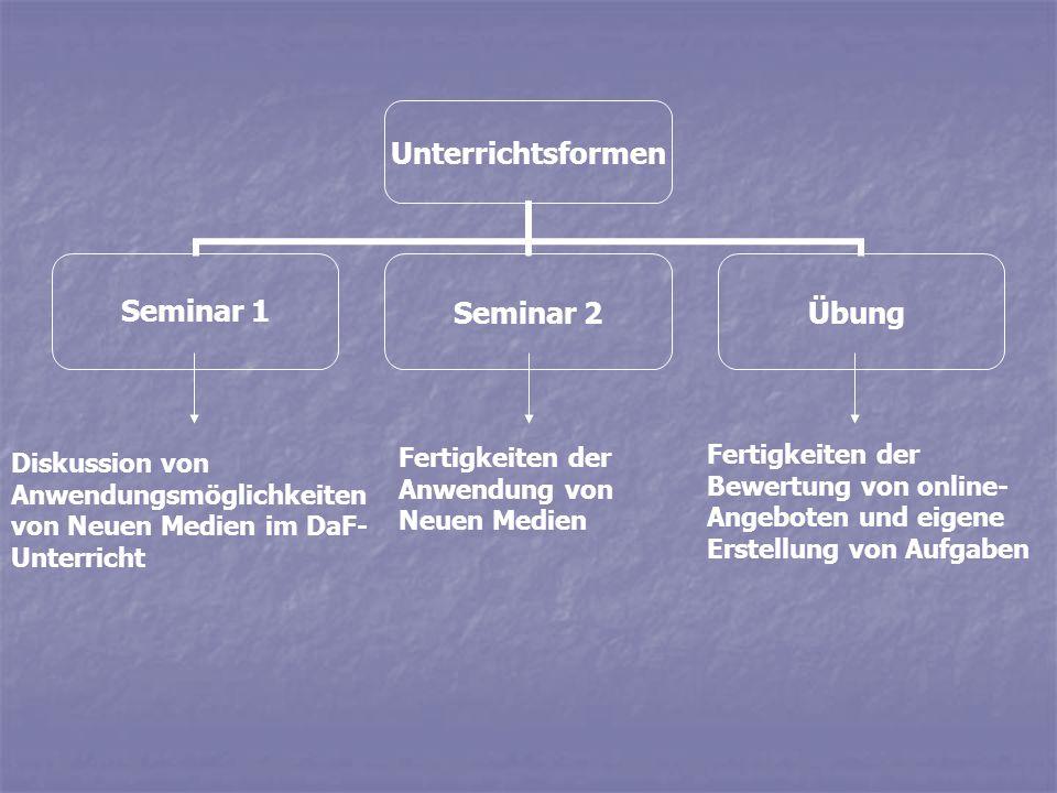Unterrichtsformen Seminar 1Seminar 2Übung Diskussion von Anwendungsmöglichkeiten von Neuen Medien im DaF- Unterricht Fertigkeiten der Anwendung von Ne