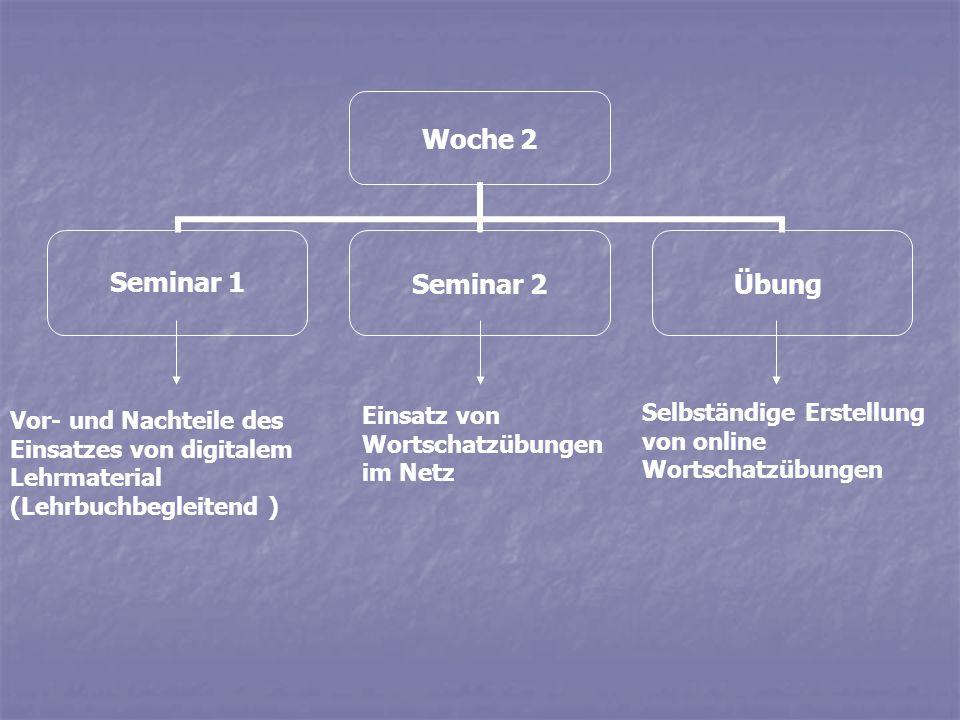 Woche 13 Seminar 1Seminar 2Übung Diskussion der verschiedenen Aktivitätsformen (Erschließung von: Inhat, sprachliche Analyse, produktive Anwendung Erstellung einer kompletten Lerneinheit Diskussion einer gesamten Webseite