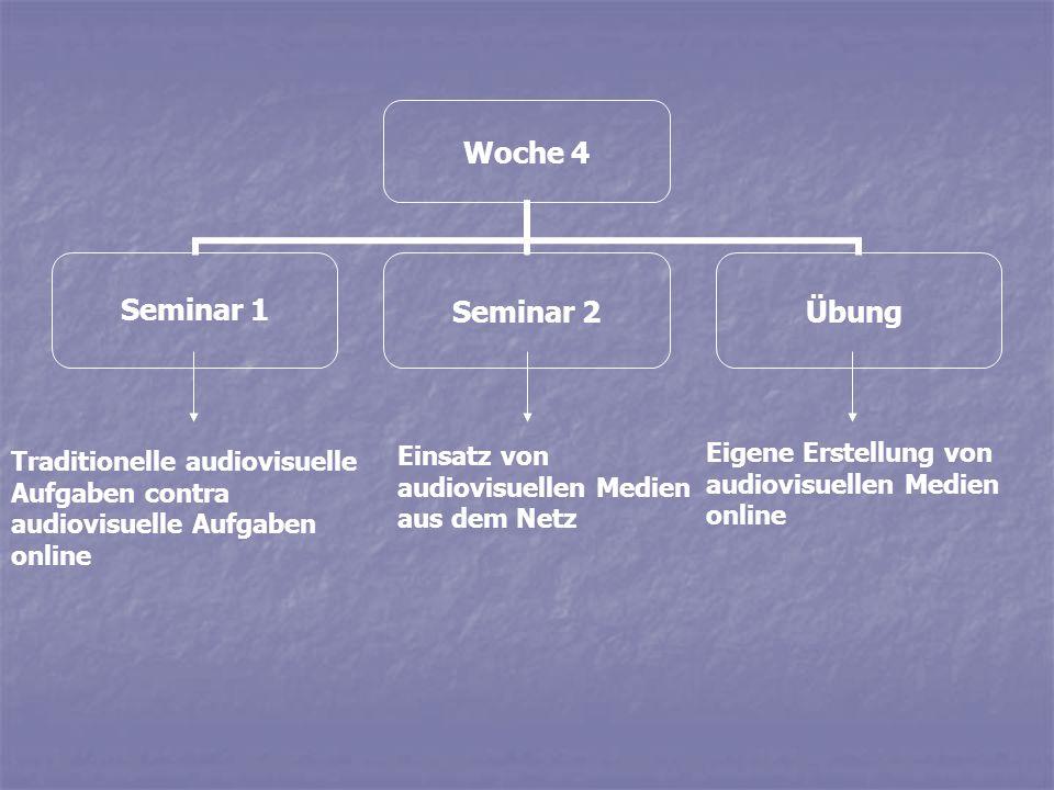 Woche 4 Seminar 1Seminar 2Übung Traditionelle audiovisuelle Aufgaben contra audiovisuelle Aufgaben online Einsatz von audiovisuellen Medien aus dem Ne