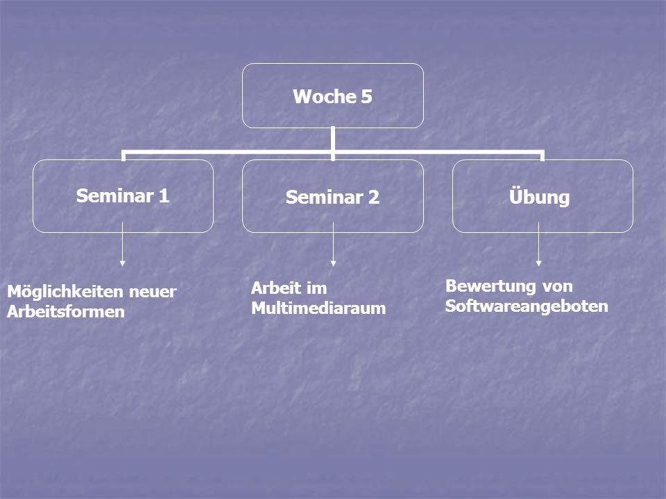 Woche 6 Seminar 1Seminar 2Übung Neue Medien als Lehrerersatz.