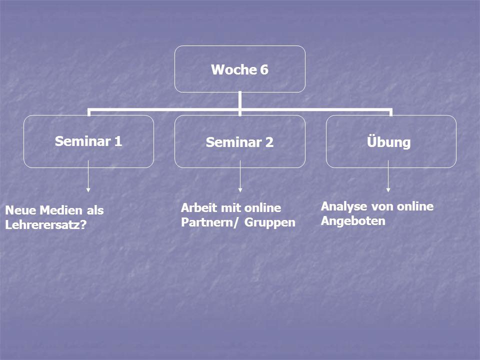 Woche 6 Seminar 1Seminar 2Übung Neue Medien als Lehrerersatz? Arbeit mit online Partnern/ Gruppen Analyse von online Angeboten