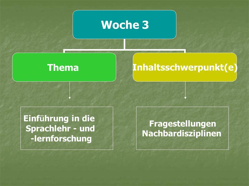 Woche 3 ThemaInhaltsschwerpunkt(e) Einf ü hrung in die Sprachlehr - und -lernforschung Fragestellungen Nachbardisziplinen