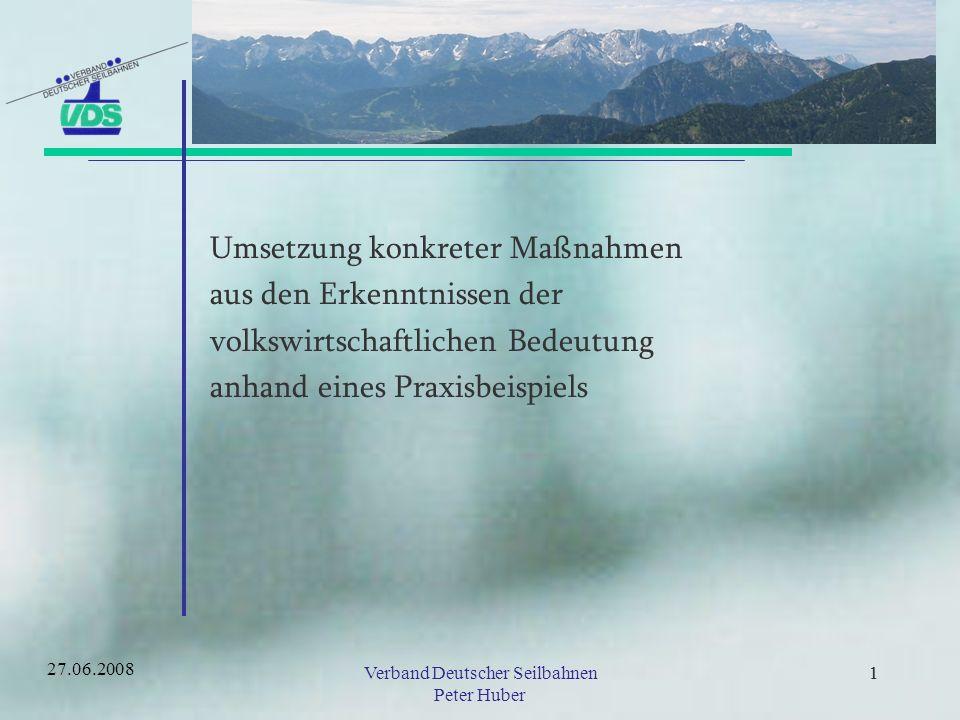21Verband Deutscher Seilbahnen Peter Huber 21 Umsetzung konkreter Maßnahmen Abgestimmtes Marketing und gemeinsame Vermarktung Beteiligung der Tourismusbeteiligten an Kostenpositionen der Bergbahn Übernahme von Investitionen im Interesse der Bergbahn durch Dritte 27.06.2008