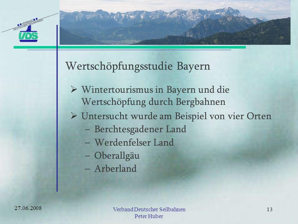 12Verband Deutscher Seilbahnen Peter Huber 12 Wertschöpfungsstudie Bayern Der Verband Deutscher Seilbahnen hat mit Unterstützung des bayerischen Wirtschaftsministeriums und in Kooperation mit dem Deutschen Skilehrerverband im Jahr 2003 eine Wertschöpfungsstudie in Auftrag gegeben.