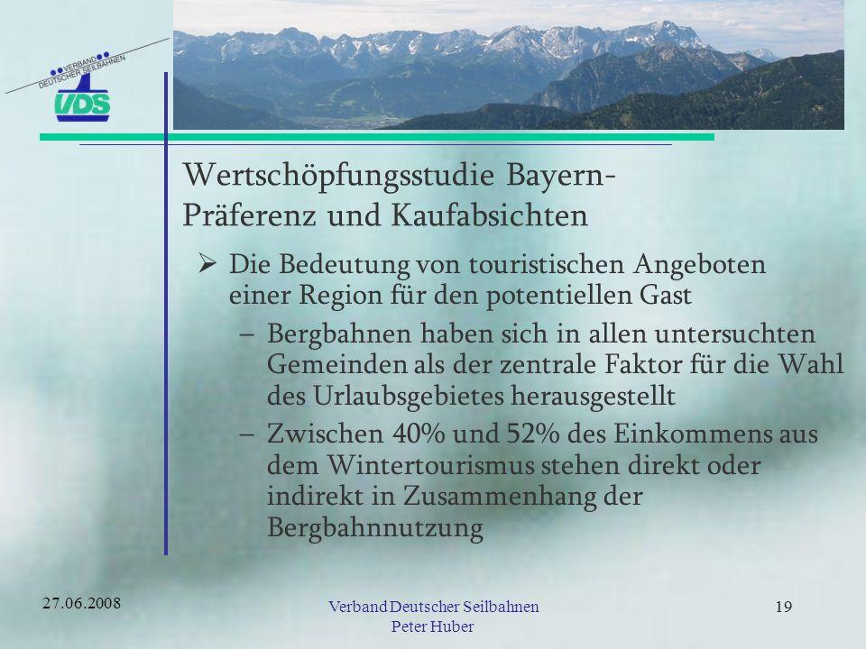 18Verband Deutscher Seilbahnen Peter Huber 18 Wertschöpfungsstudie Bayern- Einkommen in der Region 1 Arbeitsplatz bei der Bergbahn schafft in der Region zusätzliche Arbeitsplätze –2,6 im Berchtesgadener Land –3,1 im Werdenfelser Land –5,2 im Oberallgäu –6,8 im Arberland 27.06.2008