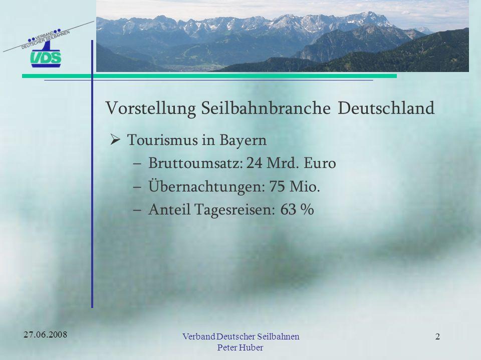 22Verband Deutscher Seilbahnen Peter Huber 22 Abgestimmtes Marketing und gemeinsame Vermarktung 27.06.2008