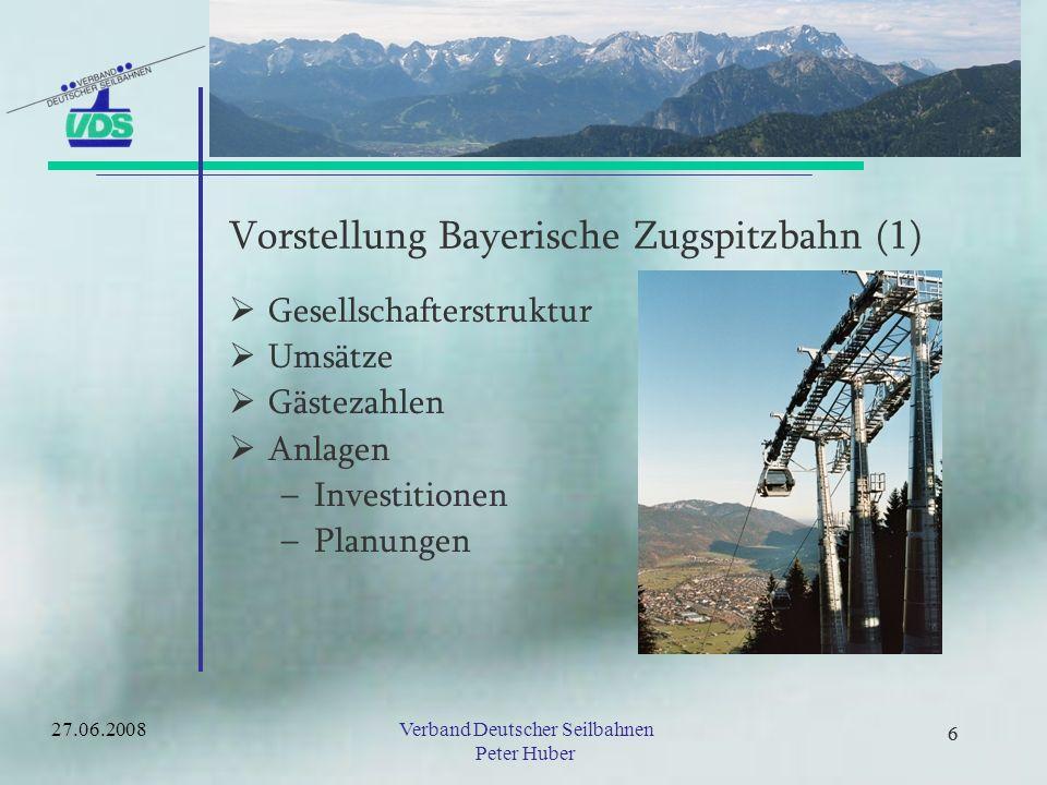 5 Vorstellung Seilbahnbranche Deutschland Umsätze 27.06.2008Verband Deutscher Seilbahnen Peter Huber