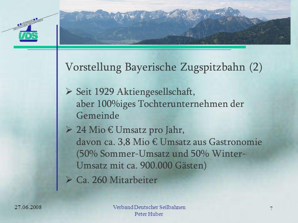 6 6 Vorstellung Bayerische Zugspitzbahn (1) Gesellschafterstruktur Umsätze Gästezahlen Anlagen –Investitionen –Planungen 27.06.2008