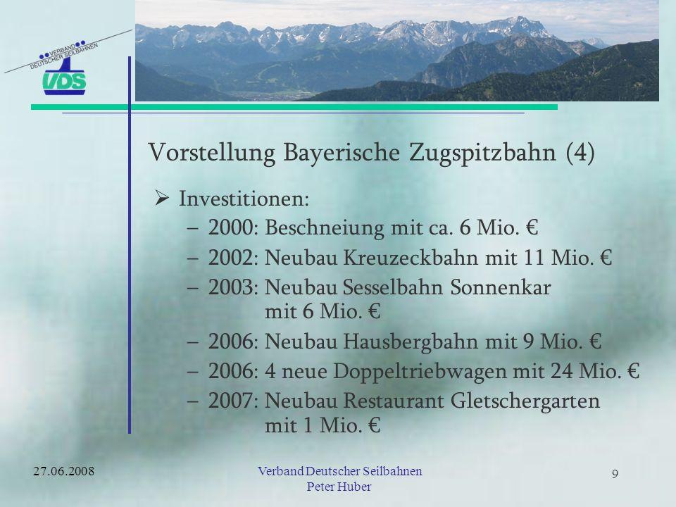 19Verband Deutscher Seilbahnen Peter Huber 19 Wertschöpfungsstudie Bayern- Präferenz und Kaufabsichten Die Bedeutung von touristischen Angeboten einer Region für den potentiellen Gast –Bergbahnen haben sich in allen untersuchten Gemeinden als der zentrale Faktor für die Wahl des Urlaubsgebietes herausgestellt –Zwischen 40% und 52% des Einkommens aus dem Wintertourismus stehen direkt oder indirekt in Zusammenhang der Bergbahnnutzung 27.06.2008