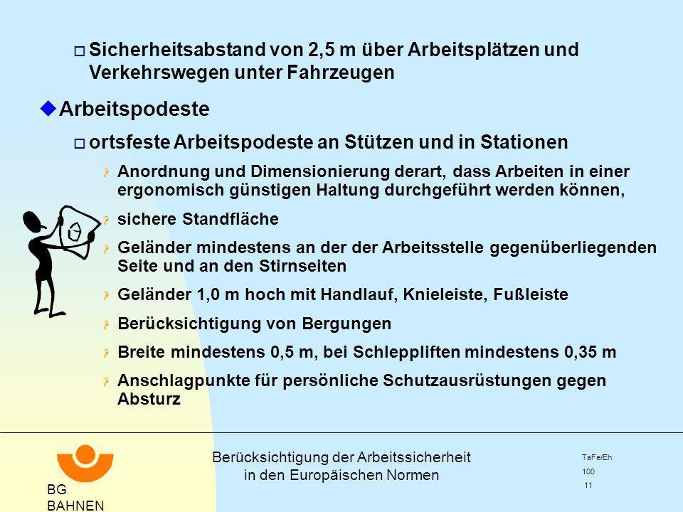 BG BAHNEN Berücksichtigung der Arbeitssicherheit in den Europäischen Normen TaFe/Eh 100 11 o Sicherheitsabstand von 2,5 m über Arbeitsplätzen und Verk